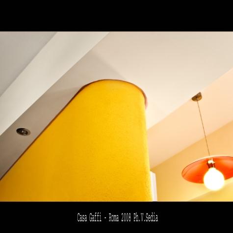 Casa Gaffi – Roma 2008. Particolare parete soggiorno